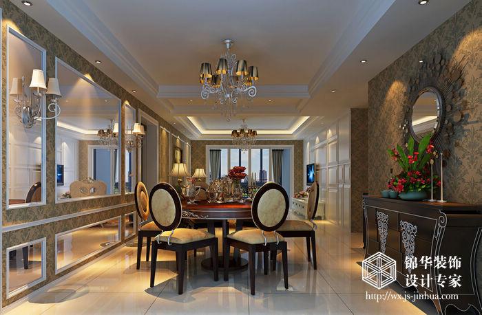 效果图装修 三室两厅装修效果图 混搭风格装修 江阴锦华装饰